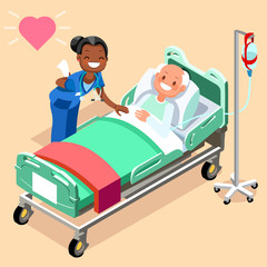 Black nurse or family doctor at male patient bed 3D flat people emotions in isometric cartoon style medical icon vector illustration