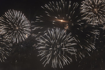 Fireworks in the night sky on a holiday.