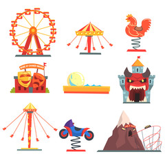 Amusement park with family attractions set of colorful cartoon vector Illustrations