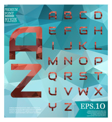 Font low poly Pastel alphabet vector letters isolated on  Vector Abstract geometric shape polygonal style