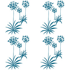 Floral vector seamless pattern with hand drawn african lily flowers and leaves.