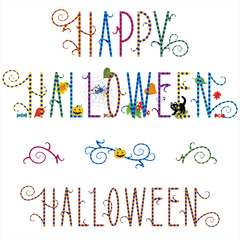 Funky Happy Halloween greeting text with pumpkin, ghost, spider, black cat, candy and autumn leaves, plus design elements