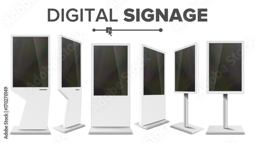 Digital Signage Touch Kiosk Set Vector Display Monitor Multimedia Amazing Multimedia Display Stands