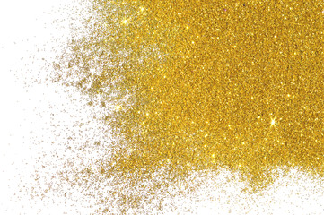 Textured background with golden glitter on white