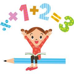 子供が鉛筆に座って計算をする
