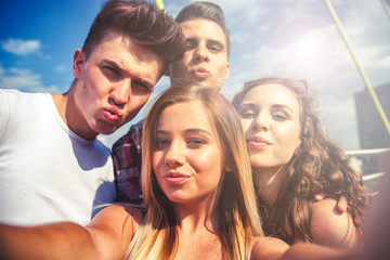 Selfie of group of teenage friends outdoor