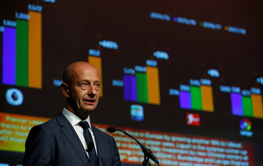 Esteve Calzada, CEO of Prime Time Sport, talks during his presentation on the global soccer transfer market at the Soccerex Global Convention in Manchester, Britain
