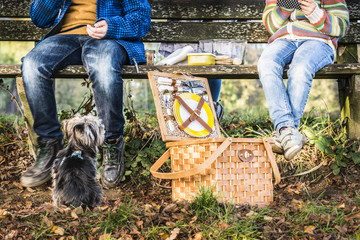 Children having a picnic, dog is watching