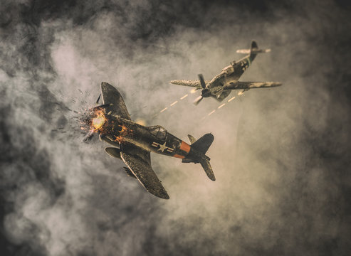 Old air combat in the clouds | American military airplane versus Nazi military aircraft