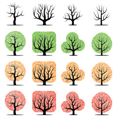 Set of sixteen vector tree with green, yellow, red leaves and  without leaves isolated on a white background