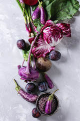 Assortment raw organic of purple vegetables mini eggplants, spring onion, beetroot, radicchio salad, plums, kohlrabi, flower salt over gray concrete background. Top view with space