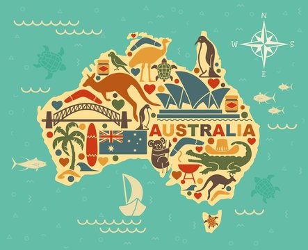 Stylized map of Australia with the symbols of Australian culture and nature