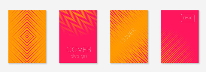 Abstract covers set. Minimal trendy vector with halftone gradients. Geometric future template for flyer, poster, brochure and invitation. Minimalistic colorful cover. Abstract EPS 10 illustration.