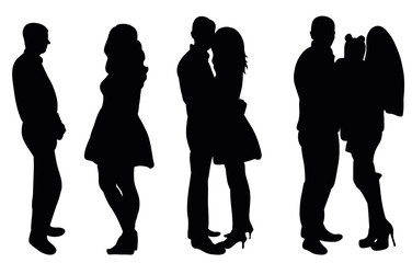 vector, isolated silhouette of a date, wedding, family stages of relations