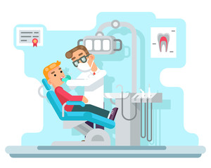 Dentist doctor hospital cabinet medical services patient flat design vector illustration