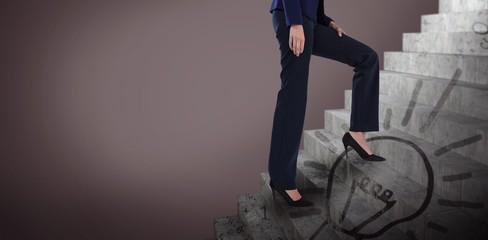 Composite image of conceptual image of businesswoman in heels