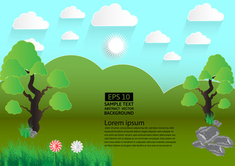 Green landscape meadow with trees and clouds,Vector illustration. paper art style