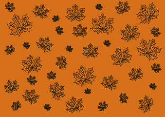 maple leaves in a mess on a light background