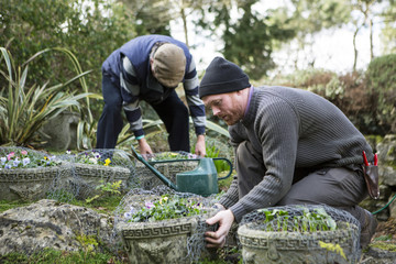 Two men working in garden, Bournemouth, County Dorset, UK, Europe