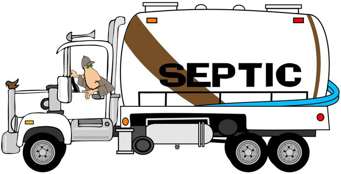 Illustration of a man backing up a septic tank pumper truck.