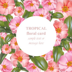Watercolor tropical floral beauty card. Vector Vintage pink tropic flowers