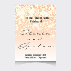 Wedding Invitation Cards Template Set with Soft Lights and