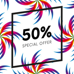 Abstract palm leafs with spectrum gradient. Fifty percent off. Special offer. Summer sale banner. Black frame. Vector illustration.