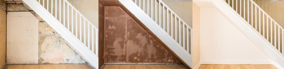 Progressive images of renovation under an old staircase.