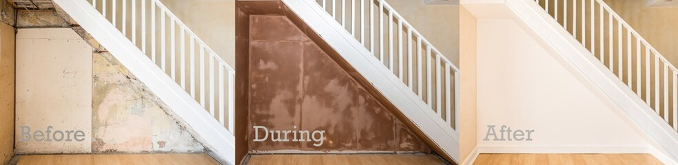 Before, during and after of wall under staircase. Text.