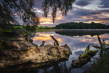 Sunset over Talkin Tarn lake