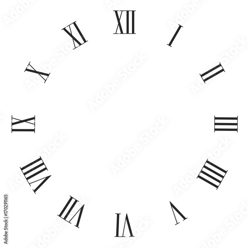 vintage roman numerals clock face vector isolated on white stock
