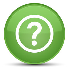 Question icon special soft green round button