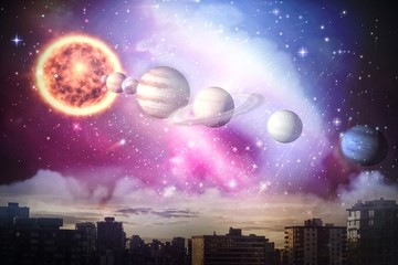 Composite image of composite image of planets and sun