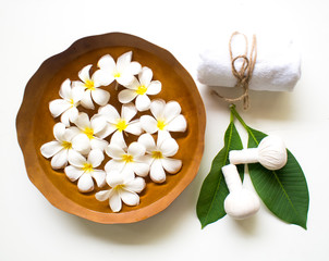 Thai Spa massage compress balls, herbal ball and treatment  spa, relax and healthy care with flower, Thailand.  Healthy Concept. select focus