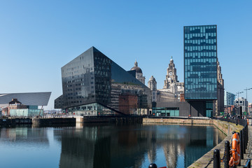 View of Albert Dock and Three Graces building in Liverpool
