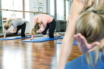Group of women doing Pilates exercises