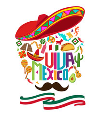 Mexico independence day typography text, background design coupon banner and flyer, postcard, celebration vector illustration
