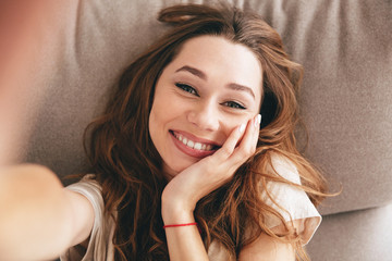 Picture Amazing happy emotional pretty lady make selfie.