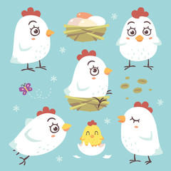 vector cartoon style hen chicken kawaii set