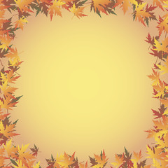 a frame of maple leaves on a red-yellow gradient