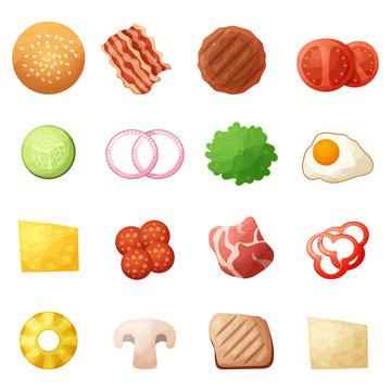 Burger ingredients top view icons set, cartoon style