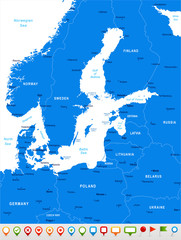 Baltic Sea Area Map - Vector Illustration