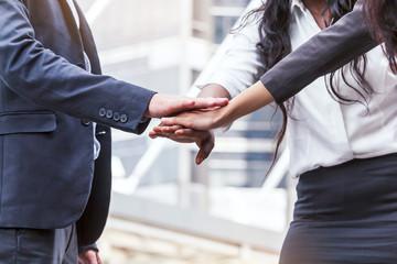 Business teamwork stack hands - Team work concept