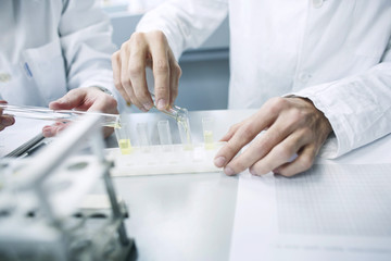 Scientists experimenting in a laboratory
