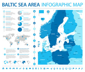 Baltic Sea Area Map - Info Graphic Vector Illustration