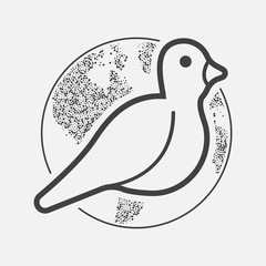 International Peace Day with Dove. Vector.