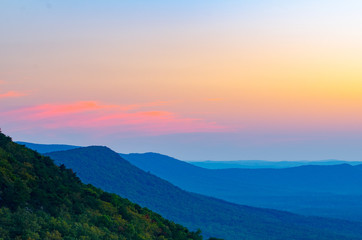A near-sunset view of valleys and hills near Cheaha Mountain State Park in Alabama, USA.