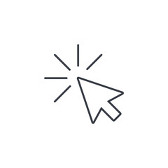 cursor arrow, click thin line icon. Linear vector illustration. Pictogram isolated on white background