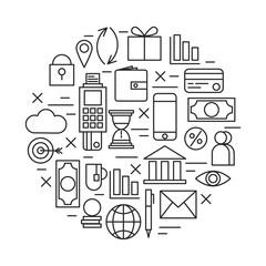 Business finance icons line art vector set