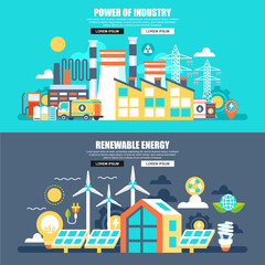 Business flat concept web banner of power of industry and renewable energy. Conceptual vector illustration for web design, marketing, graphic design.